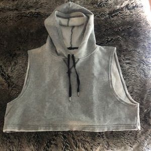 Urban Outfitters cropped gray sleeveless hoodie